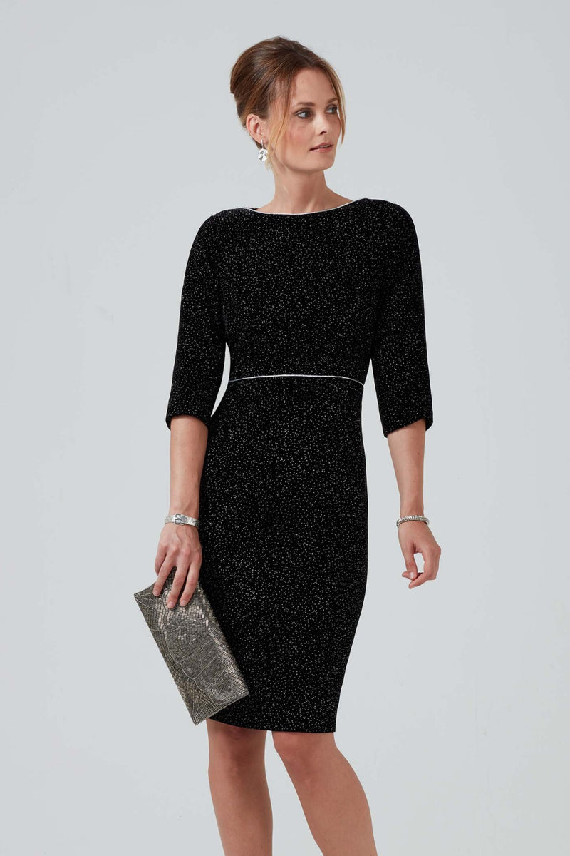 Designer Black and silver sparkle velvet dress - Angela