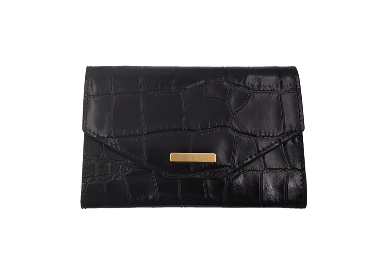 Wallet 'Croc Print' Leather - Black