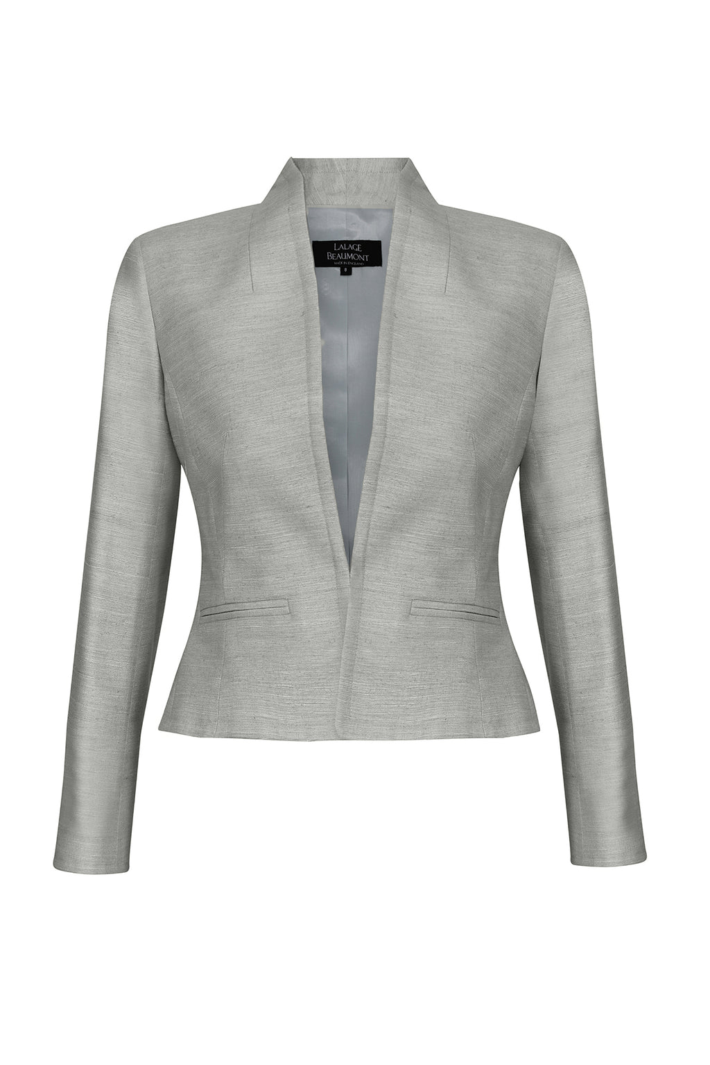 Silk jacket in stone coloured raw silk - Margo