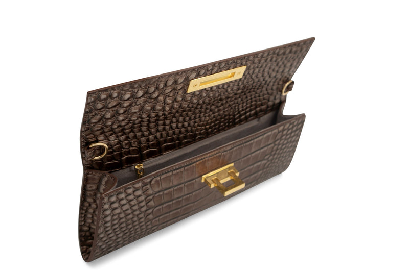 Fonteyn Clutch 'Croc' Print Leather Handbag - Bronze
