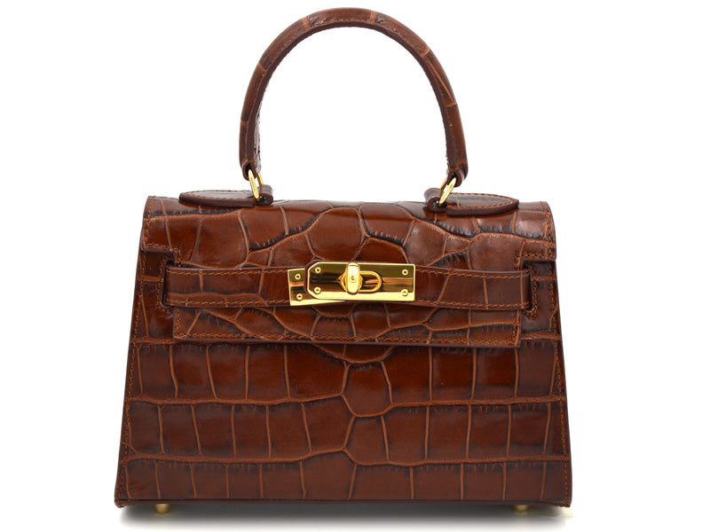 Manon Mignon - 'Croc Print' Leather Handbag - Brown