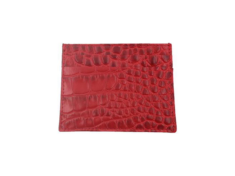 Card Holder 'Croc' Print Leather - Red