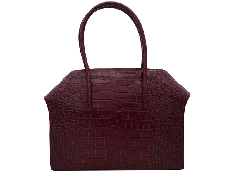 Carmen - Large Tote Handbag in 'Croc Print' Leather - Wine