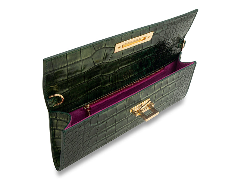 Fonteyn Clutch 'Croc' Print Leather Handbag - Metallic Green
