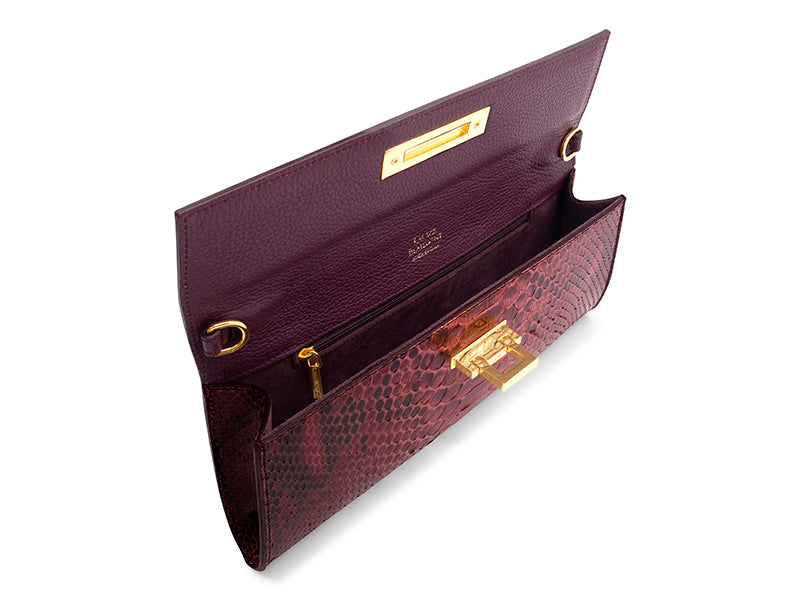Fonteyn Clutch Pythonskin Handbag - Wine