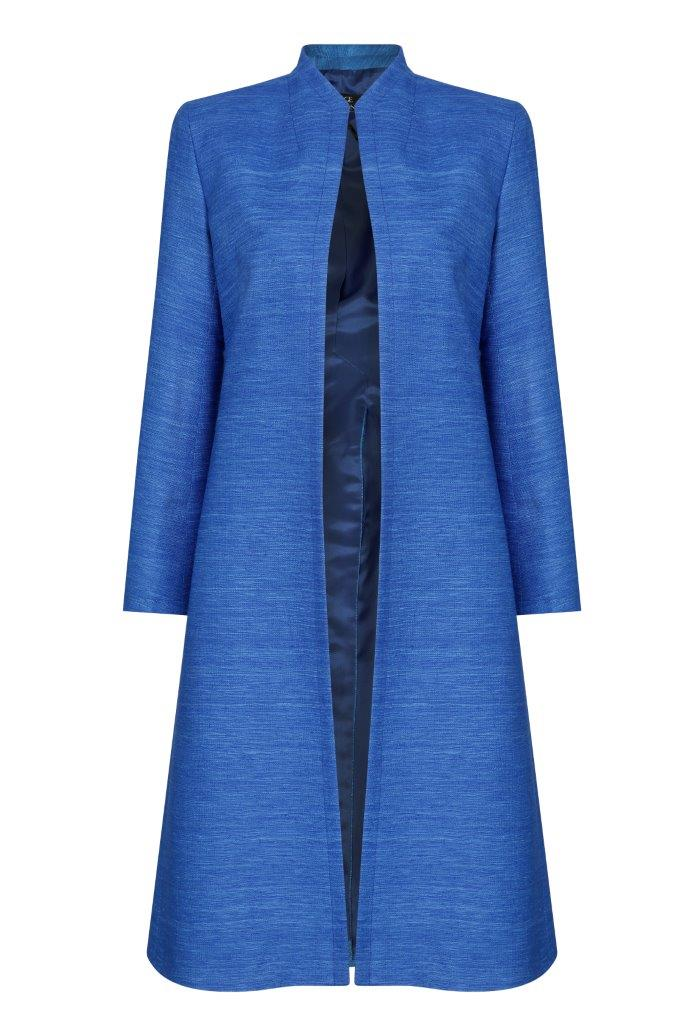 Occasion wear jacket for mothers of the bride in blue by luxury designer Lalage