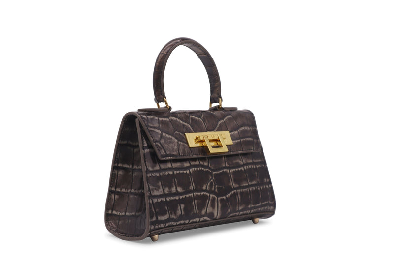 Fonteyn Mignon 'Croc' Print Leather Handbag - Aviator