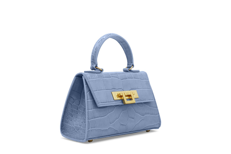 Fonteyn Mignon 'Croc' Print Leather Handbag - Bluebell