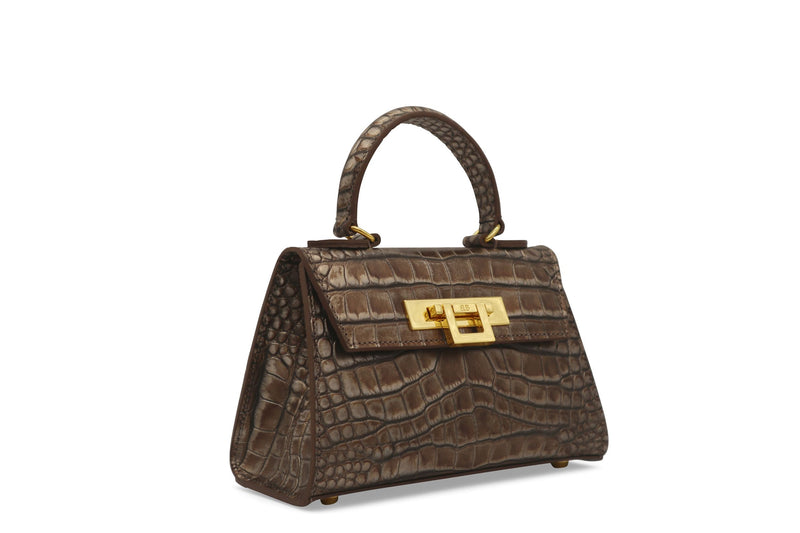 Fonteyn Mignon 'Croc' Print Leather Handbag - Bronze