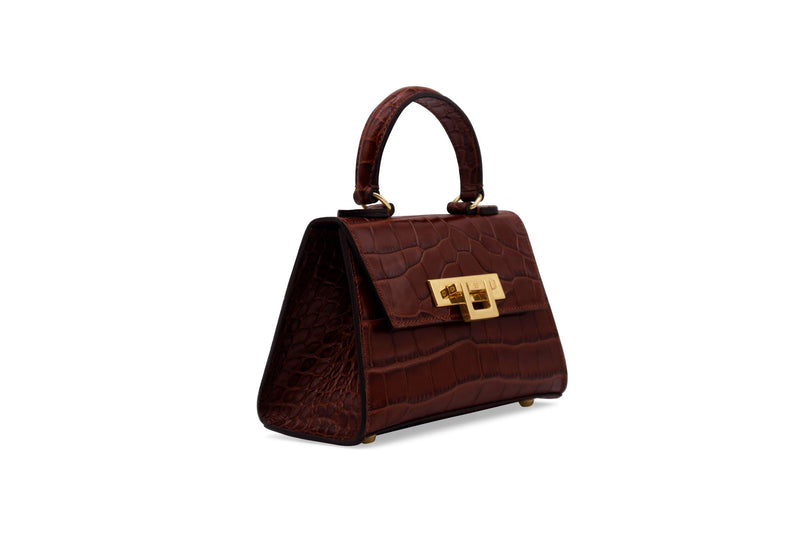 Fonteyn Mignon 'Croc' Print Leather Handbag - Brown