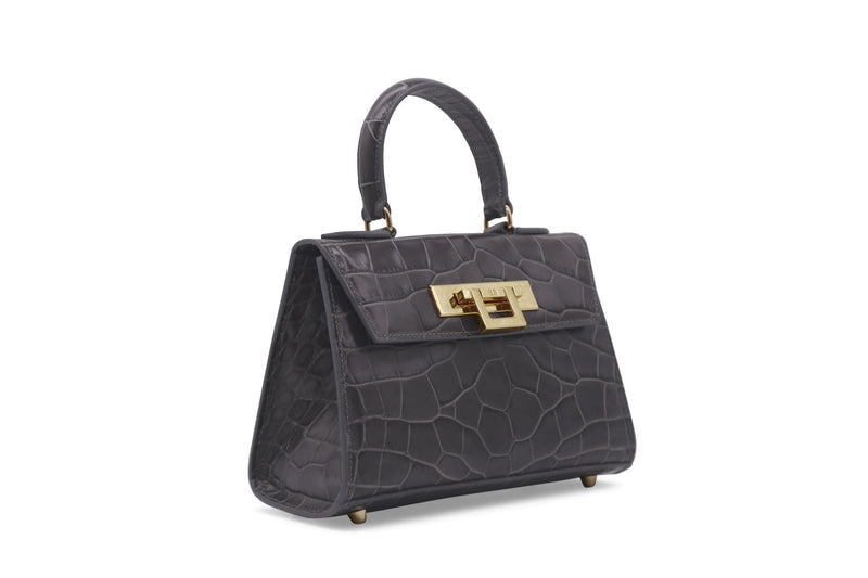 Fonteyn Mignon 'Croc' Print Leather Handbag - Dark Grey