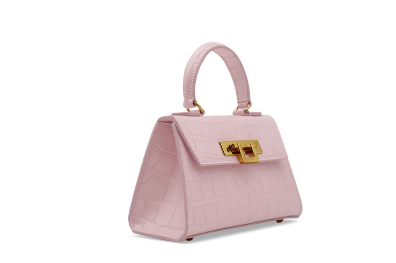 Fonteyn Mignon 'Croc' Print Leather Handbag - Rose