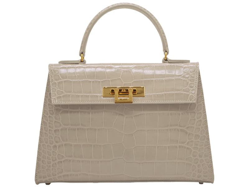 Fonteyn Large 'Croc' Print Leather Handbag - Stone