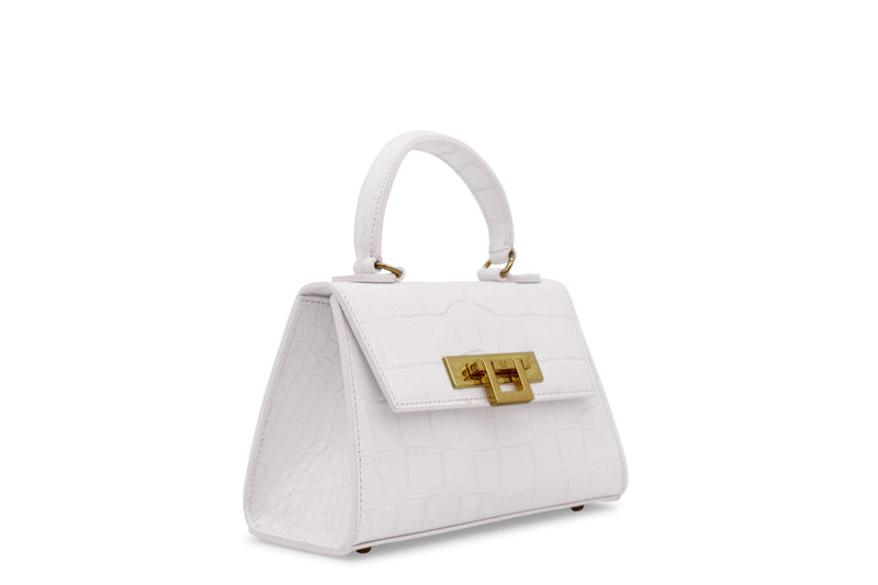 Fonteyn Mignon 'Croc' Print Leather Handbag - White