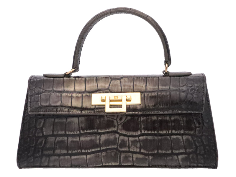 Fonteyn East West 'Croc Print' Leather Handbag - Metallic Grey