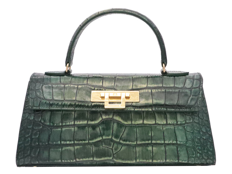 Fonteyn East West 'Croc Print' Leather Handbag - Metallic Green