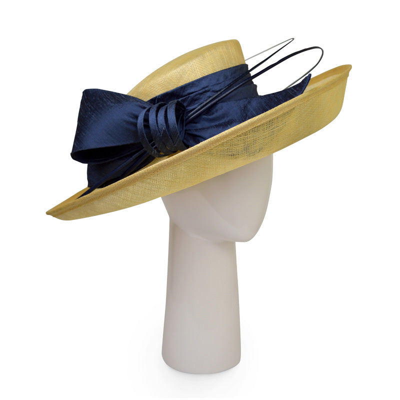 Up brim hat in Honey Yellow with Slate Grey silk bow