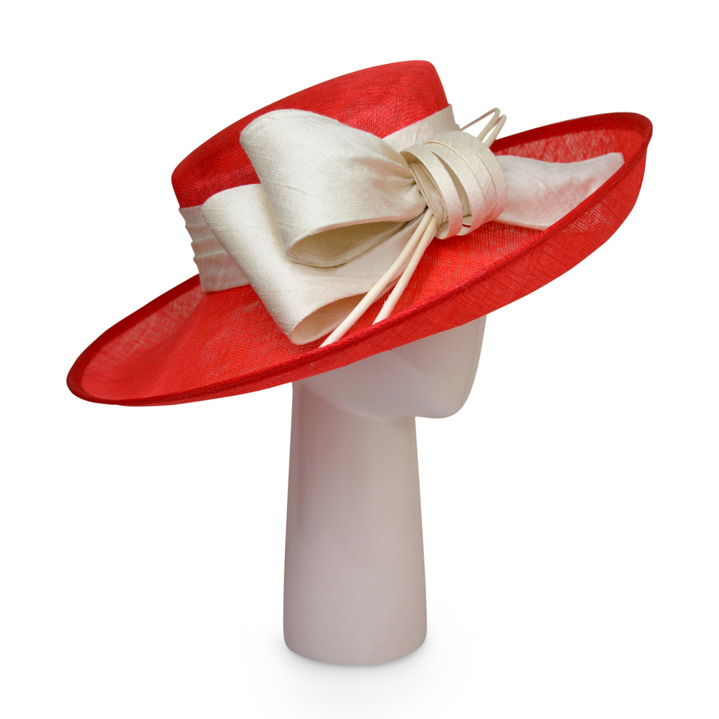 Up Brim Hat with Silk Bow - Scarlet and Latte