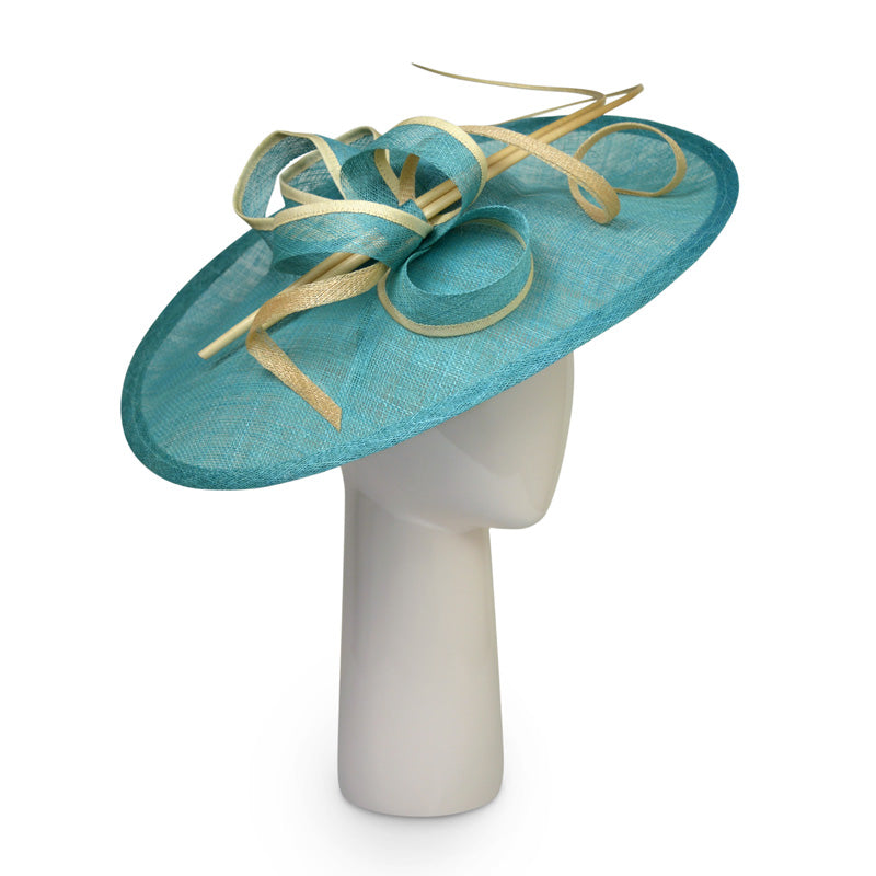 Teardrop disk hat in Jade and Gold