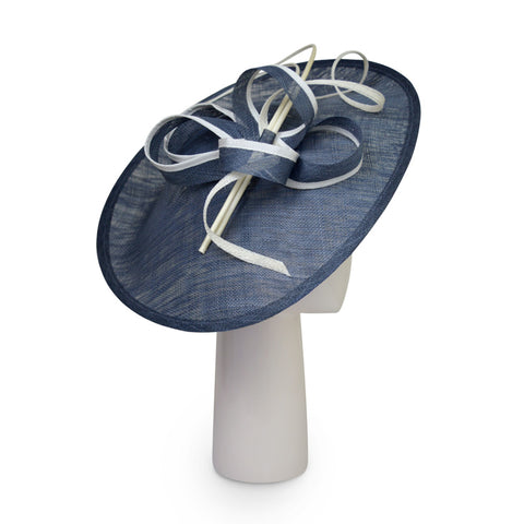 Up Brim Hat with Silk Bow -Ivory & Navy