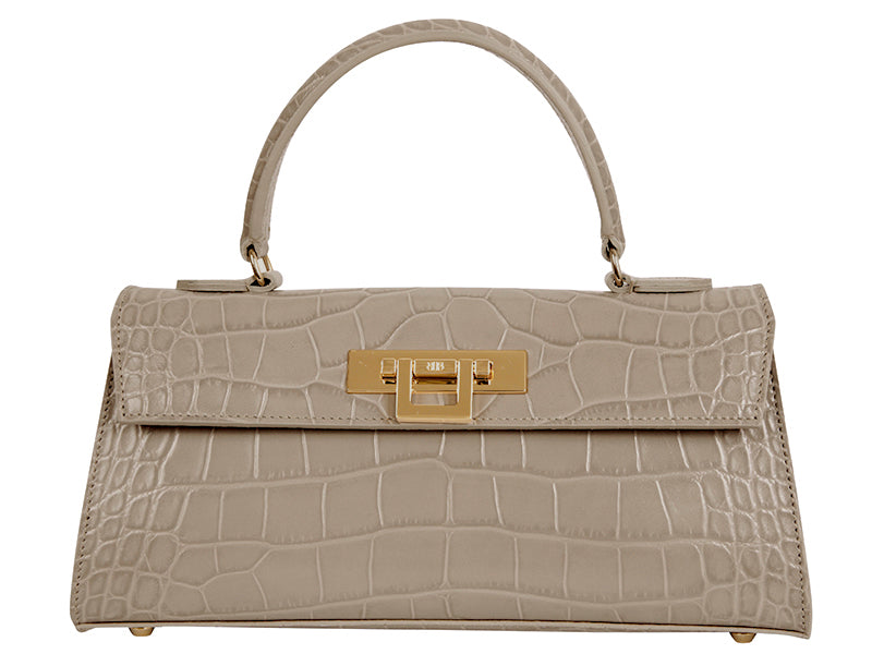 Fonteyn East West 'Croc' Print Leather Handbag - Stone