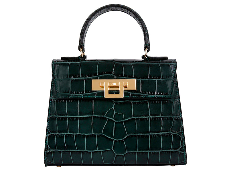 Fonteyn Midi 'Croc' Print Leather Handbag - Dark Green