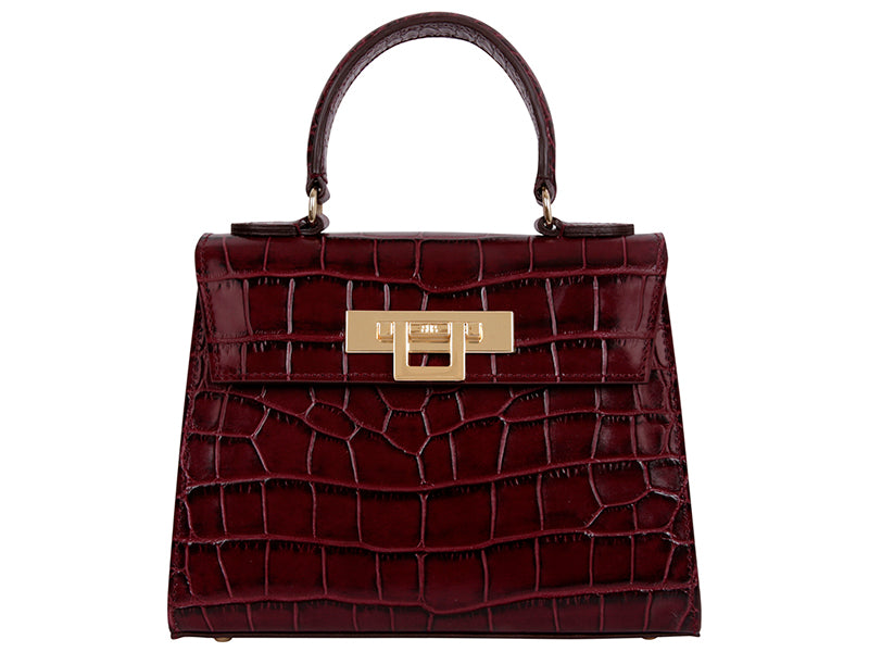 Fonteyn Midi 'Croc' Print Leather Handbag - Wine