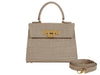 Fonteyn Midi 'Croc' Print Leather Handbag - Stone
