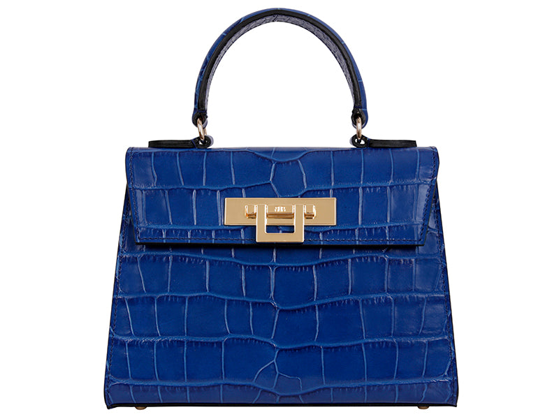 Fonteyn Midi 'Croc' Print Leather Handbag - Cobalt