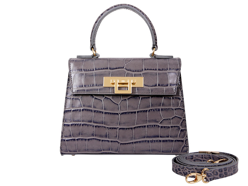 Fonteyn Midi 'Croc' Print Leather Handbag - Light Grey