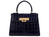 Fonteyn Midi 'Croc' Print Leather Handbag - Navy