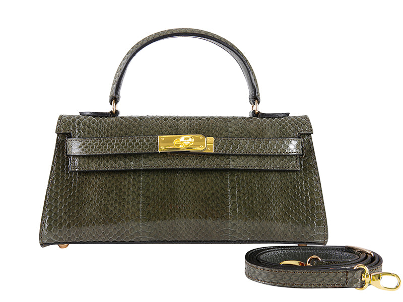 Manon East West Snake Leather Handbag - Olive Green