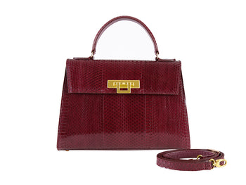 Fonteyn Large 'Snake' Print Leather Handbag - Plum