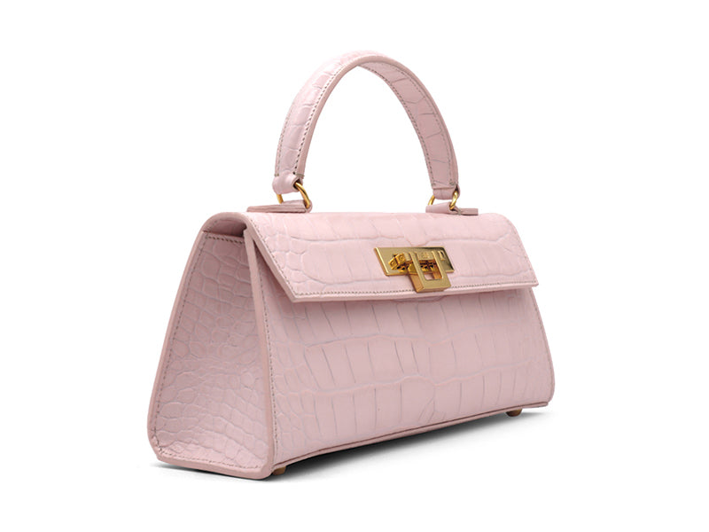 Fonteyn East West 'Croc' Print Leather Handbag - Rose