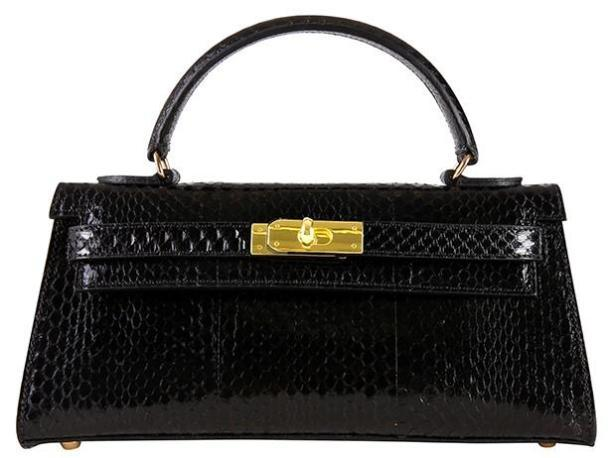 Manon East West Snake Leather Handbag - Black