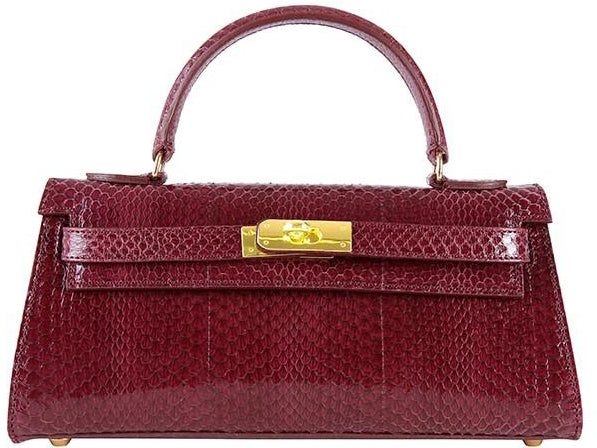Manon East West Snake Leather Handbag - Plum