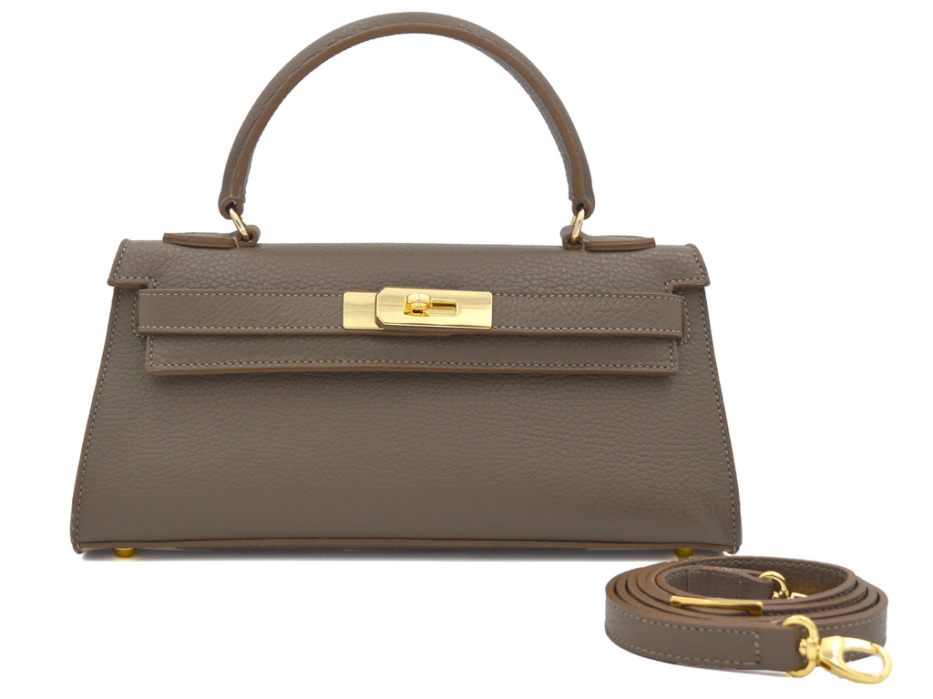 Manon East West - Alce leather Handbag - Taupe