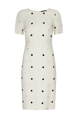 Ivory wool mix dress with embroidered dots on the floating over bodice - Rolanda