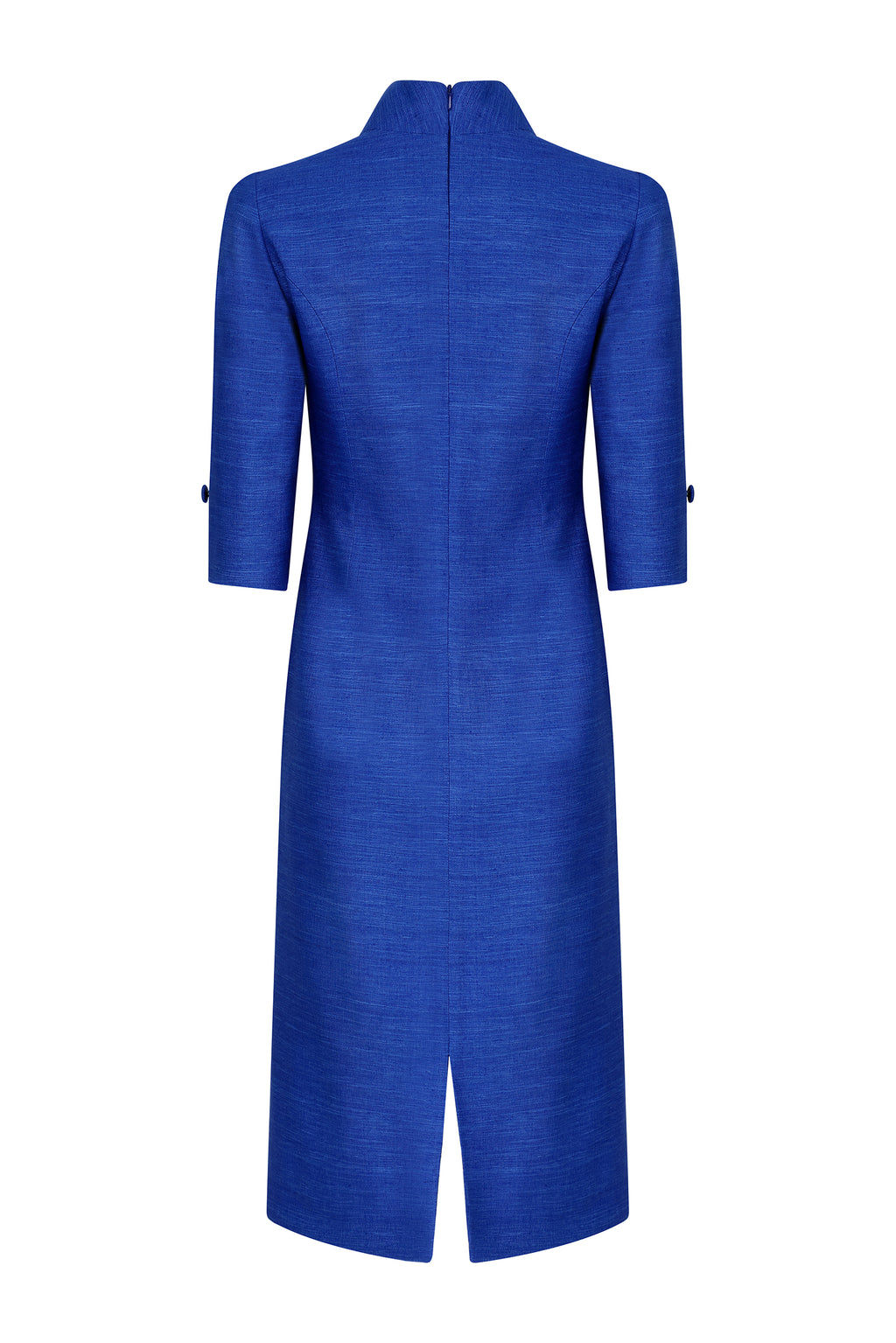 Midi straight dress with sleeves in sapphire raw silk - Nicola