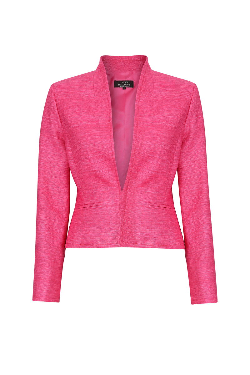 Fitted edge-to-edge plain raw silk jacket in fuchsia pink - Margo