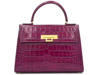 Fonteyn Large - 'Croc Print' Leather Handbag - Magenta