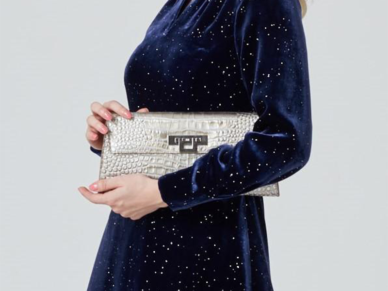 Fonteyn Clutch 'Croc' Print Leather Handbag - Silver