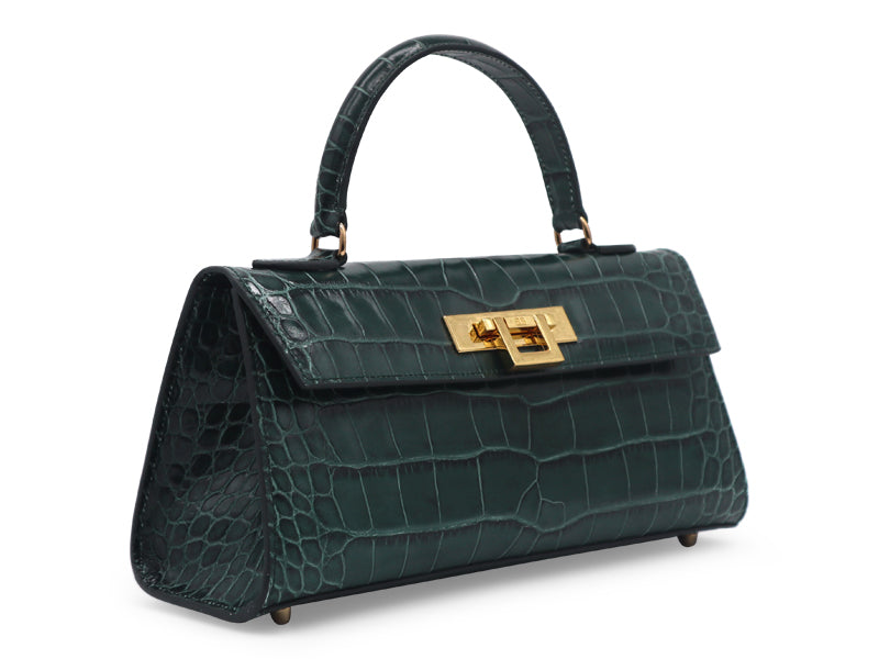 Fonteyn East West 'Croc' Print Leather Handbag - Green
