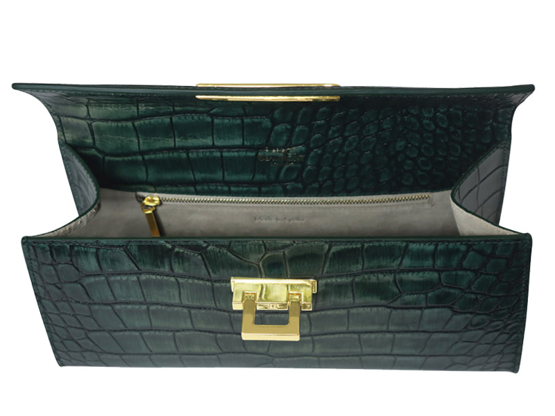 Fonteyn East West 'Croc' Print Leather Handbag - Metallic Green