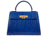 Fonteyn Large 'Croc' Print Leather Handbag - Cobalt