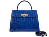 Fonteyn Large 'Croc Print' Leather Handbag - Cobalt
