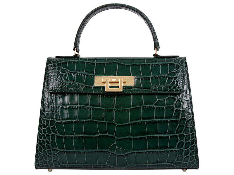 Fonteyn Large 'Croc' Print Leather Handbag - Dark Green