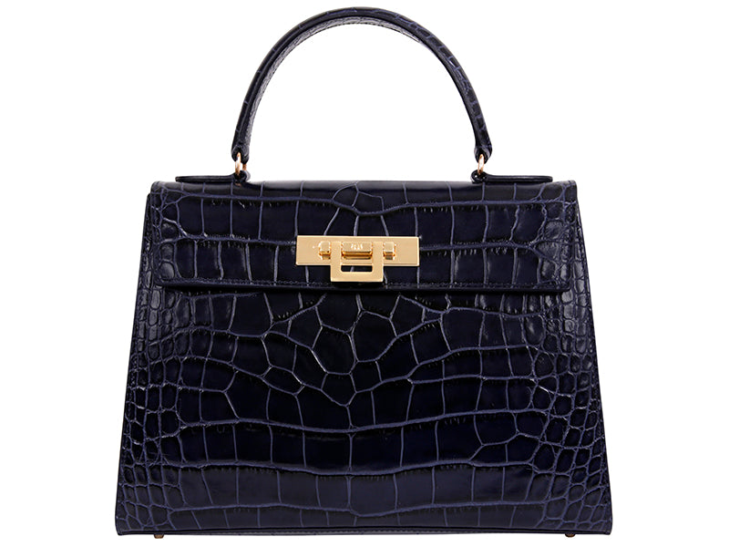 Fonteyn Large 'Croc' Print Leather Handbag - Navy