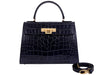 Fonteyn  Large'Croc Print' Leather Handbag - Navy