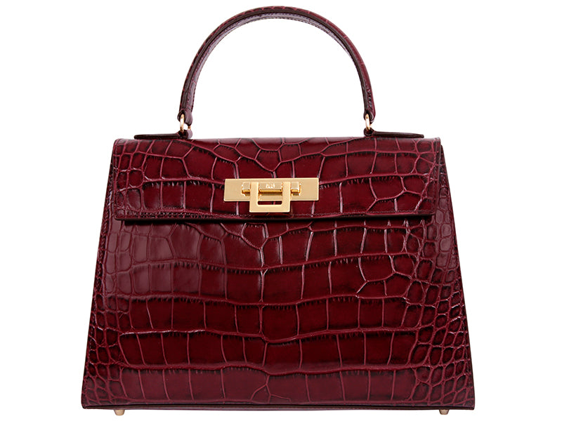 Fonteyn Large 'Croc' Print Leather Handbag - Wine